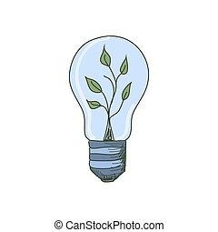 coloré, lumière, intérieur, pousse, ampoule, griffonnage