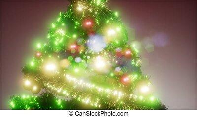 coloré, lumières, arbre, joyeux, coup, noël, studio