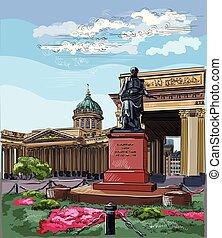 coloré, main, 1, vecteur, petersburg, rue, dessin