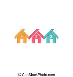 coloré, maison, symbole, gosse, vecteur, math