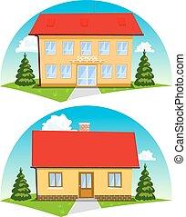 coloré, maisons, arrière-plan., vecteur, blanc, dessin animé