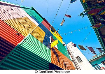coloré, maisons, dans, boca, buenos aires, argentine