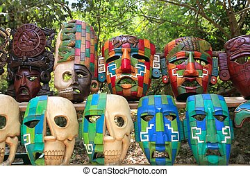 coloré, maya, masques, culture, indien, jungle