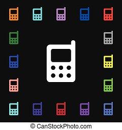 coloré, mobile, signe., symboles, téléphone, vecteur, icône, lotissements, ton, design.