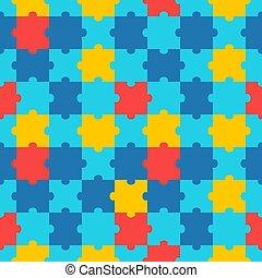 coloré, modèle, dessin animé, vecteur, seamless, puzzle, puzzle