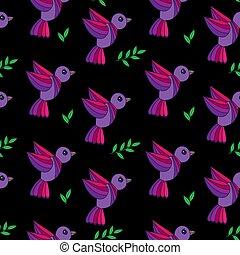 coloré, modèle, feuilles, seamless, simplement, fond, vert, oiseaux, noir