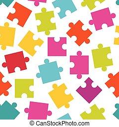 coloré, modèle, puzzle, puzzle, seamless, pieces.