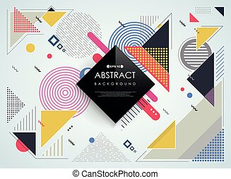 coloré, modèle, résumé, arrière-plan., géométrique, memphis