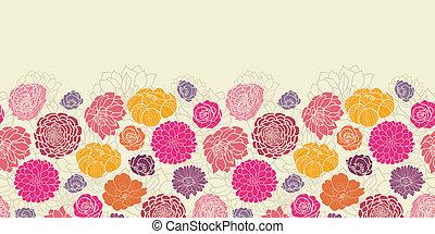coloré, modèle, résumé, seamless, horizontal, fleurs,...