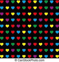 coloré, modèle, seamless, arrière-plan., noir, cœurs