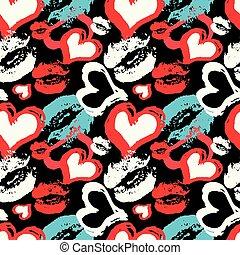 coloré, modèle, seamless, lèvres, arrière-plan noir, cœurs