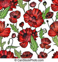 coloré, modèle, seamless, main, arrière-plan., poppies., dessiné