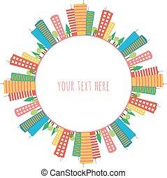 coloré, modèle, seamless, maisons, doodles, cercle