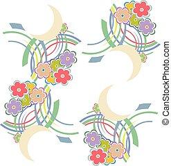 coloré, modèle, summery, seamless, leaves., vecteur, fond, floral, fleurs