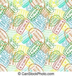 coloré, modèle, timbres, immigration, clair, fond, seamless, blanc