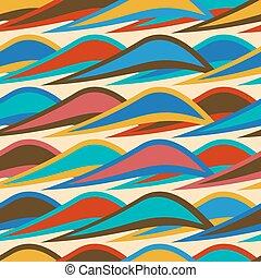 coloré, modèle, vagues, seamless, fond, vendange