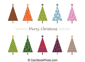 coloré, modelé, noël arbres, carte voeux, illustration
