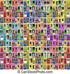 coloré, montage, photo, résumé, -, portes, maison, images, beaucoup