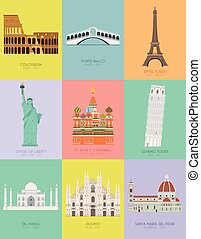 coloré, monuments, affiche, moderne, illustration, vecteur, conception, fond, mondiale, neuf, important