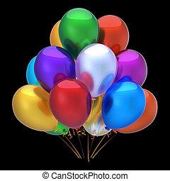 coloré, multicolore, décoration, fêtede l'anniversaire, ballons, heureux