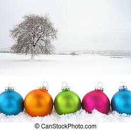coloré, noël, balles, à, champ neige, comme, fond