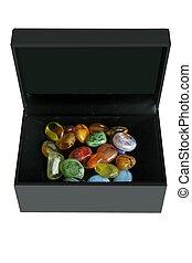 coloré, noir, pierres, boîte, verre
