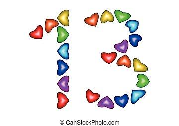 Color nombre 18 dix huit c urs blanc amour nombre for Chiffre treize