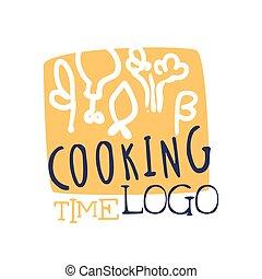 coloré, nourriture, cuisine, fait main, club, gabarit, logo