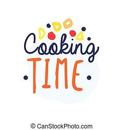 coloré, nourriture, texte, cuisine, fait main, club, logo