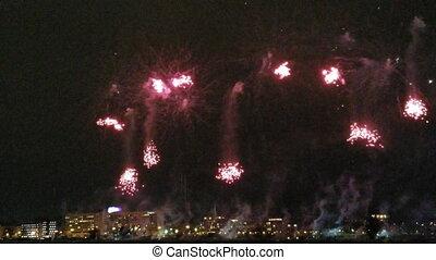coloré, nuit, feux artifice, au-dessus, sky.