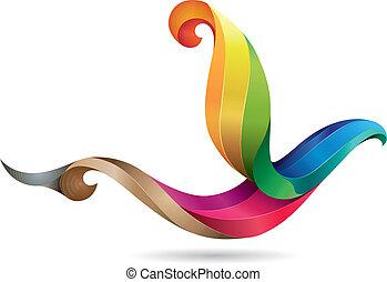 coloré, oiseau, illustration