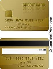 coloré, or, dos, crédit, gabarit, devant, carte
