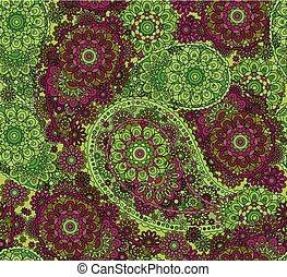 coloré, paisley., pattern., seamless, vecteur, oriental