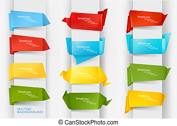 coloré, papier, ensemble, origami, énorme