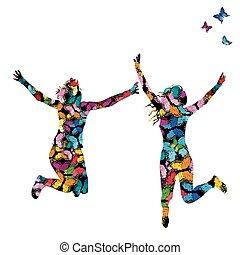 coloré, papillons, illustration, silhouettes, sauter, femmes, collorful