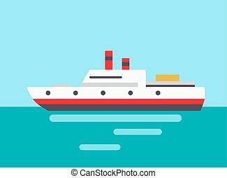 coloré, paquebot, illustration, vecteur, marin, icône