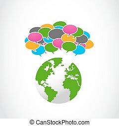 coloré, parole, bulles, à, globe