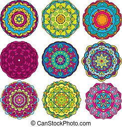 coloré, patterns., ornements, floral, ensemble, kaléidoscope, 9, rond