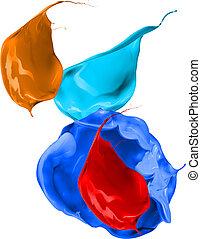 coloré, peinture, eclabousse, isolé, blanc, fond