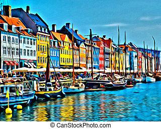 coloré, peinture, illustration, copenhague, artistique, maisons, nyhavn, danemark