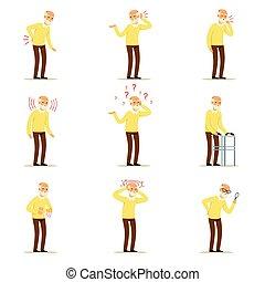 coloré, personne agee, détaillé, caractères, vecteur, douleur, santé, cou, problème, personnes agées, genou, dessin animé, head., homme, maladies, dos, bras, coeur, ensemble, illustrations