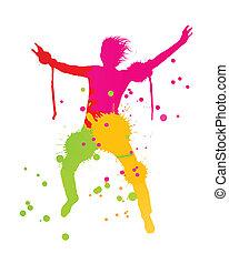 coloré, personne, clair, vecteur, eclabousse, fond, encre, heureux