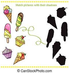 coloré, pictures-, -, glace, dessin animé, jeu, savoureux, enfants, allumette, crème