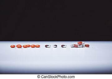 coloré, pilules, et, capsules