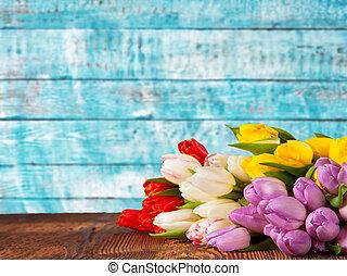 coloré, placé, bouquet, vendange, bois, tulipes, planches