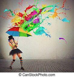 coloré, pluie