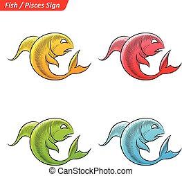 Zodiaque toile color signes toile color - Croquis poisson ...