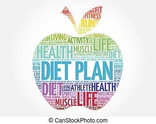 coloré, pomme, régime, plan