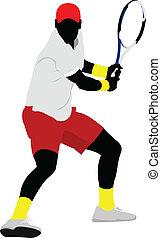 coloré, poster., joueur, tennis, vect