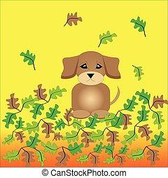coloré, pousse feuilles, -, fond jaune, orange, chiot